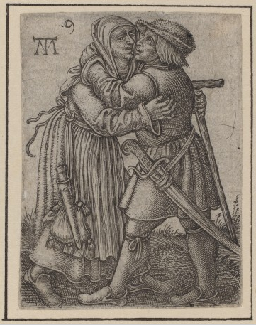 Martin Treu, Embracing Couple, c. 1540, engraving on laid paper
