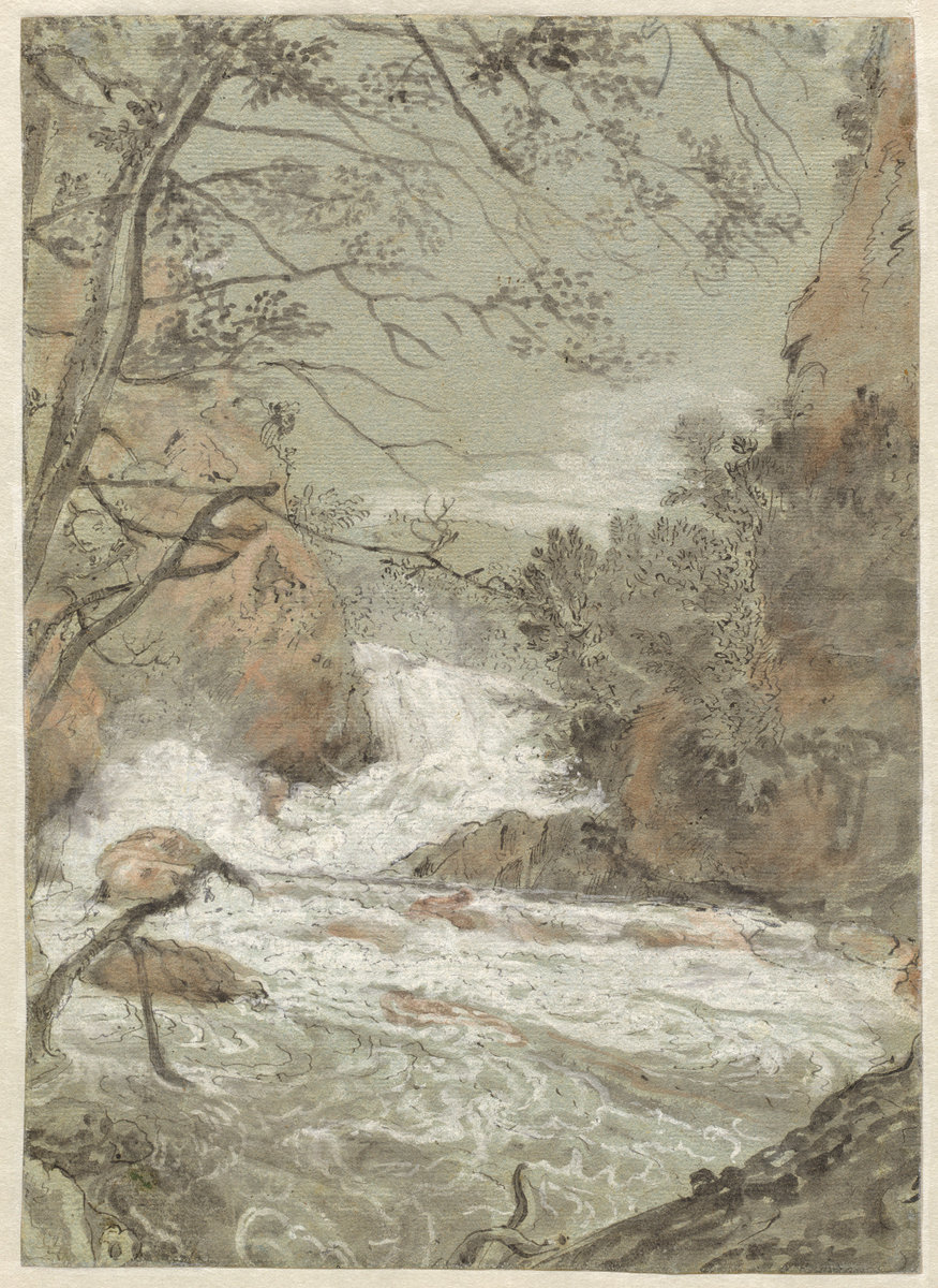 Joachim Franz Beich (German, 1665 - 1748 ), River Landscape with a Waterfall (recto), 1704/1714, pen and black ink with gray and red wash, heightened with white gouache on blue laid paper, Wolfgang Ratjen Collection, Purchased as the Gift of Alexander M. and Judith W. Laughlin 2007.111.50.a